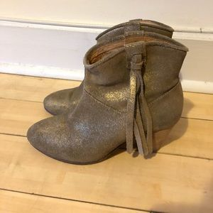 Maje Gold Fringe Ankle Boots